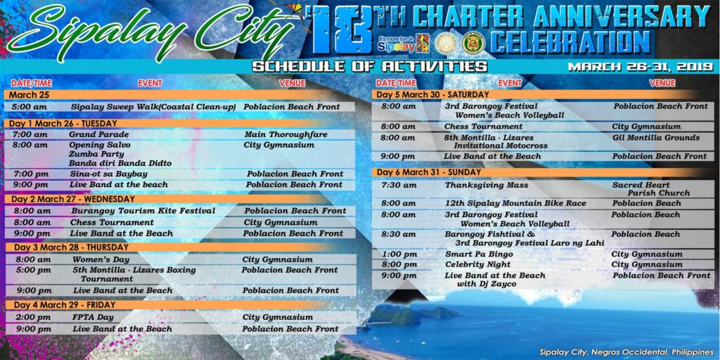 Sipalay City 18th Charter Anniversary Celebration 2019  Schedule